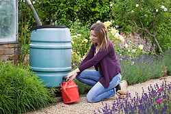 Filling a watering can from a water butt