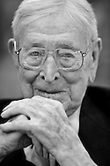 Legendary coach John Wooden shares a smile during the half-time activities honoring his first Championship team in '64-65 Saturday at Pauley Pavillion. ..///ADDITIONAL INFO:  uclabkb.0201.kjs17.jpg  ---  Photo by Kevin Sullivan, The Orange County Register --  1/31/09..The UCLA Men's basketball team takes on the Stanford Cardinal at Pauley Pavillion Saturday January 31, 2009.  .