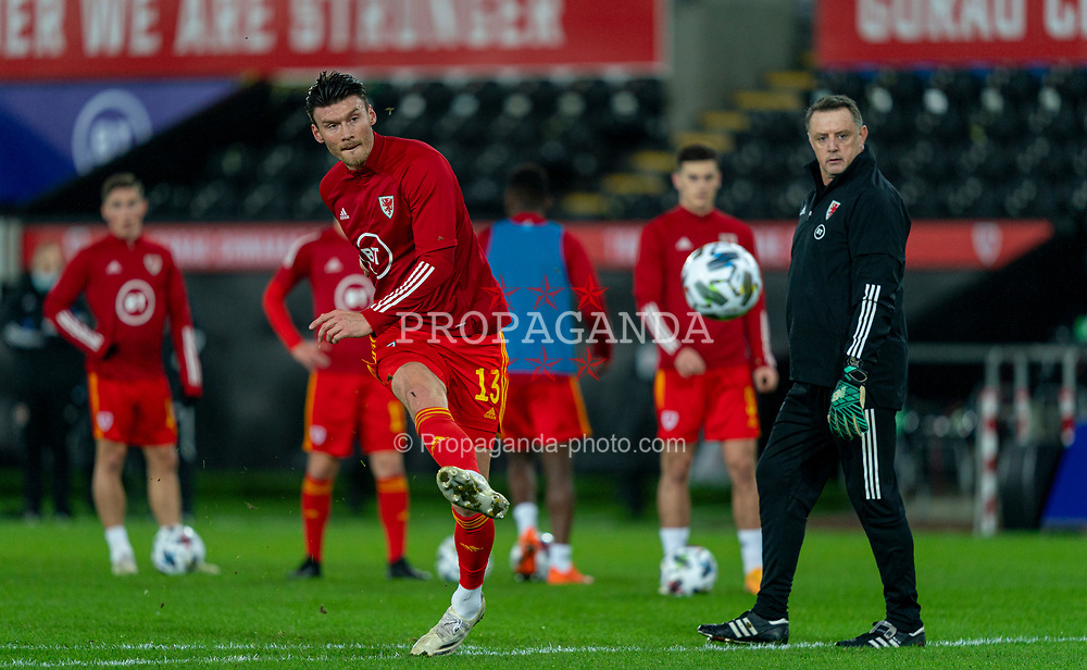 SWANSEA, WALES - Thursday, November 12, 2020: Wales' Kieffer Moore during the pre-match warm-up before an International Friendly match between Wales and the USA at the Liberty Stadium. (Pic by David Rawcliffe/Propaganda)