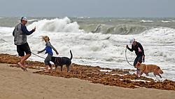 Cameron Scott takes pictures of his wife, Amanda Scott, right, their daughter, Addison Scott, 6, and their dogs, Luna and Foxy Brown, as a wave splashes them on Fort Lauderdale Beach as Hurricane Irma pushes into South Florida on Saturday, September 9, 2017, in Fort Lauderdale, FL, USA. Photo by Amy Beth Bennett/Sun Sentinel/TNS/ABACAPRESS.COM