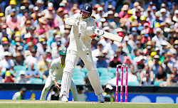 England's Stuart Broad hits a shot during day two of the Ashes Test match at Sydney Cricket Ground.