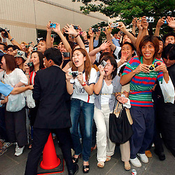 PIC BY PAUL GROVER AT THE ENGLAND TEAM'S HOTEL IN NIIGATA JAPAN PIC SHOWS David Beckham Mania
