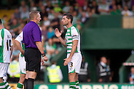 Jamie McAllister (right) of Yeovil Town is not happy about the ref James Linington's decision to give Reading a penalty  during the Skybet championship match, Yeovil Town v Reading at Huish Park in Yeovil on Saturday 31st August 2013. <br /> Picture by Sophie Elbourn, Andrew Orchard sports photography,