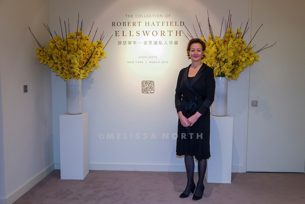 Leila de Vos van Steenwijk, Director, European Head Chinese Ceramics & Works of Art at the touring highlights of The Collection of Robert Hatfield Ellsworth, <br /> at Christies in King St, London, UK on Tuesday 16th December 2014. In celebration of this unparalleled collection of Asian Art, Christie's will host a series of auctions and online-only sales during New York Asian Art Week in March 2015. Photo by Melissa North. Ref B5690