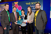 27/01/2014  REPRO FREE. Winners of the newly introduced Student Enterprise Award  at the annual SCCUL Enterprise Awards prize giving ceremony and business expo which was hosted by NUI Galway in the Bailey Allen Hall, NUIG were four Co. Galway students who have developed a mobile phone app with the potential to save lives. <br /> By monitoring movement while driving, Road Buddy detects any sudden impact and the app will automatically send an SMS to the emergency services with the GPS co-ordinates of the phone for accurate location. The app is the brainchild of Gerard Nee, Paula Kelly , Aisling Kenny  and Alan O' Connor,  and Presented by Mr Tom O'Connell Galway City Council and SCCUL.<br /> The students who are final year students in GMIT, plan to use their €1250 prize fund to develop an iphone version of the app in addition to the android and windows already developed.<br /> Photo:Andrew Downes