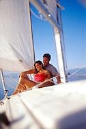 couple sailing on Great Salt Lake, Utah, USA