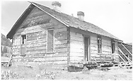 """3/4 southwest corner (rear & west side) of abandoned RGS section house at Lizard Head.<br /> RGS  Lizard Head, CO  Taken by Richardson, Robert W. - 9/5/1952<br /> In book """"RGS Story, The Vol. IV: Over the Bridges? Ophir Loop to Rico"""" page 283"""