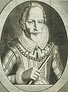 Walter Raleigh (1552-1612) English courtier and navigator. Favourite of Elizabeth I. Half-brother of Humphrey Gilbert. Said to have introduced Tobacco and Potatoes into England.  Engraving by Michiel van der Gucht (1660-1725) for Clarendon's 'History'