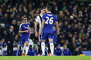 Aleksandar Mitrovic of Newcastle United squaring up to John Terry, the Chelsea captain. Barclays Premier league match, Chelsea v Newcastle Utd at Stamford Bridge in London on Saturday 13th February 2016.<br /> pic by John Patrick Fletcher, Andrew Orchard sports photography.