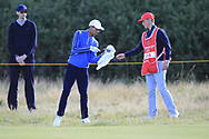 Isaiah Salinda (USA) on the 5th during Day 2 Foursomes of the Walker Cup, Royal Liverpool Golf CLub, Hoylake, Cheshire, England. 08/09/2019.<br /> Picture Thos Caffrey / Golffile.ie<br /> <br /> All photo usage must carry mandatory copyright credit (© Golffile   Thos Caffrey)