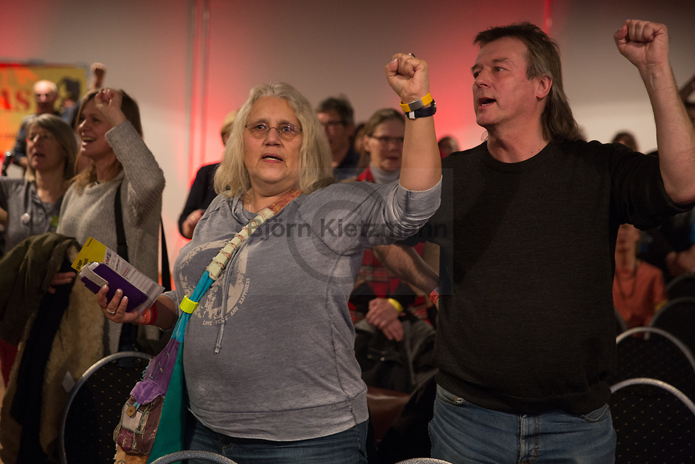 """Berlin, Germany - 14.01.2017<br /> <br /> Participants sing together """"The Internationale"""" at the end of the Rosa-Luxemburg conference 2017 at Mercure Hotel MOA Berlin.<br /> <br /> Gemeinsames Singen der Internationale am Ende der Rosa-Luxemburg-Konferenz 2017 im Mercure Hotel MOA Berlin. <br /> <br /> Photo: Bjoern Kietzmann"""
