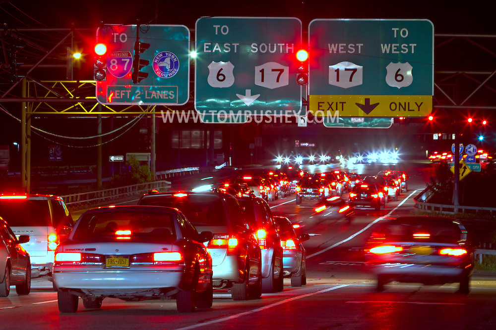 Central Valley, New York - Cars stop at traffic lights on Route 32 near the intersection with Route 17, Route 6 and the New York State Thruway on the night of May 19, 2012.