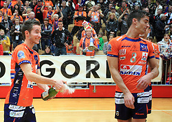 Ales Fabjan and Jasmin Cuturic at finals of Slovenian volleyball cup between OK ACH Volley and OK Salonit Anhovo Kanal, on December 27, 2008, in Nova Gorica, Slovenia. ACH Volley won 3:2.(Photo by Vid Ponikvar / SportIda).