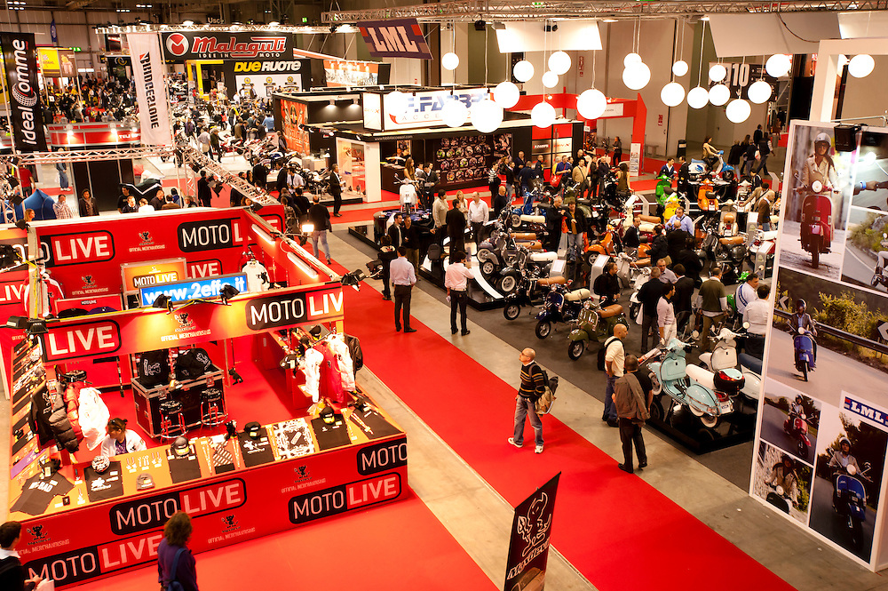 MILAN, NOVEMBER 3: Above view of EICMA, 68th International Bicycle and motorcycle Exhibition in Milan Fair, November 2nd - 7th, 2010