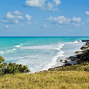 South shore cliffs and caribbean ocean. Isla Mujeres, Quintana Roo. Mexico.