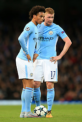 17th October 2017 - UEFA Champions League - Group F - Manchester City v Napoli - Leroy Sane of Man City (L) and teammate Kevin De Bruyne stand over the ball - Photo: Simon Stacpoole / Offside.