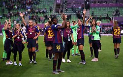 Barcelona Women's Asisat Oshoala and her team-mates applaud the fans after the match