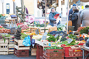 Fruits and vegetables on sale at a street market. Bergerac Dordogne France