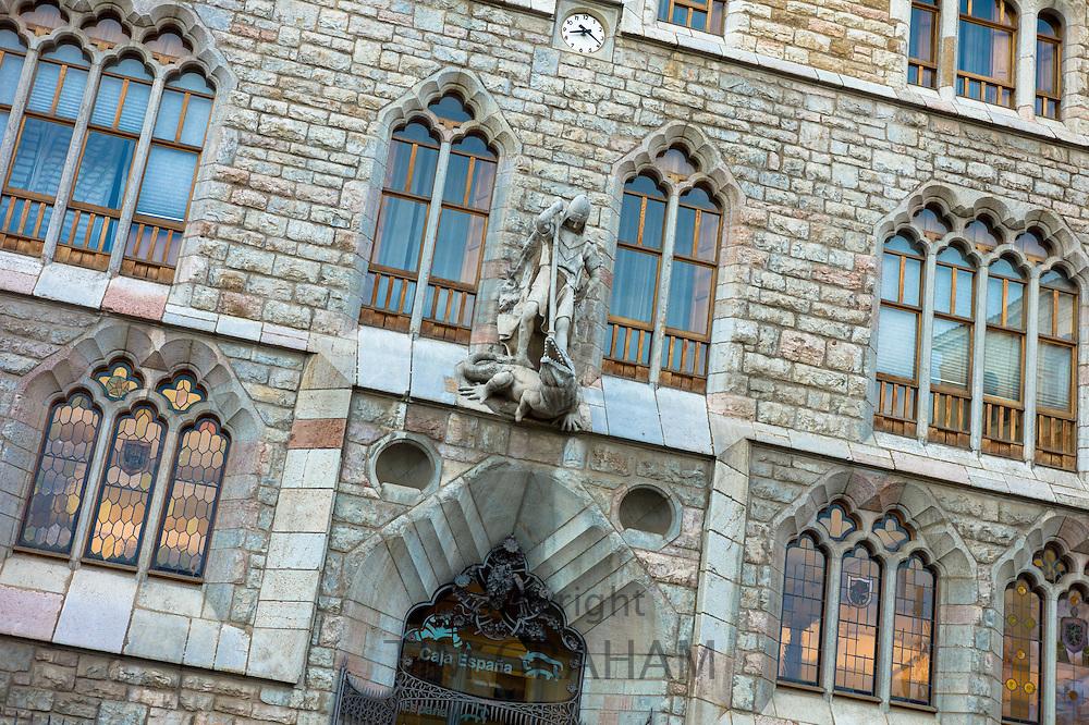 Caja Espana savings bank of Spain in Casa Botines designed by architect Antoni Gaudi in Leon, Castilla y Leon, Spain