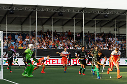 (L-R) Ammad Shakeel Butt of Pakistan, Thijs van Dam of The Netherlands during the Champions Trophy match between the Netherlands and Pakistan on the fields of BH&BC Breda on June 26, 2018 in Breda, the Netherlands