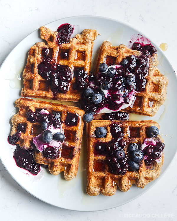 Blueberry Waffles for A Table cookbook promo