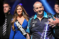 Phil Taylor walk-on  during the Betway Premier League Darts Play-Offs at the O2 Arena, London, United Kingdom on 19 May 2016. Photo by Shane Healey.
