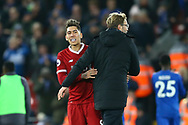Liverpool Manager Jurgen Klopp congratulates Roberto Firmino of Liverpool after the game. Premier League match, Liverpool v Leicester City at the Anfield stadium in Liverpool, Merseyside on Saturday 30th December 2017.<br /> pic by Chris Stading, Andrew Orchard sports photography.