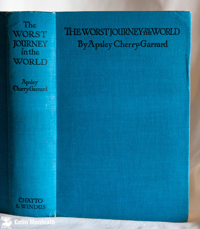 THE WORST JOURNEY IN THE WORLD - Apsley Cherry-Garrard - 1939 edn., Produced by the author and published for him by Chatto & Windus, London, - The classic account of Scott's Last Expedition 1910-13, graphic description of the winter journey to Cape Crozier, Scott's polar journey and the subsequent search for the overdue SP party, plus the diaries of those who took part, four maps,, 8 illustrations by Edward Wilson, - Scarce early edition VG+ copy 1939 One volume edition with no dustjacket, original teal blue cloth, almost no foxing $NZ250