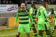 Forest Green Rovers Liam Noble(15) celebrates his goal, 0-1 during the Vanarama National League first leg play off match between Dagenham and Redbridge and Forest Green Rovers at the London Borough of Barking and Dagenham Stadium, London, England on 4 May 2017. Photo by Shane Healey.