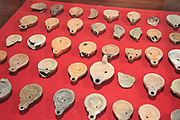 Clay oil lamps, Museo Nacional de Arte Romano, national museum of Roman art, Merida, Extremadura, Spain