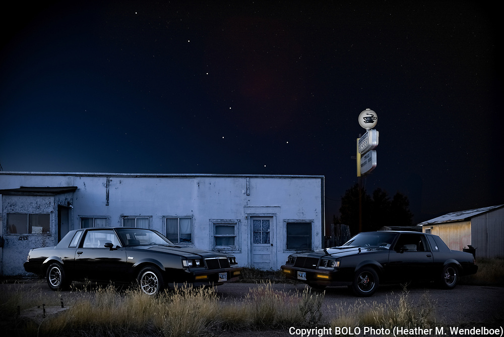 BOLO Photo<br /> Wild West Automotive Photography<br /> Big Dipper of Defunct Harmony<br /> 07 Sep 18 <br /> Harmony, Wyoming<br /> (1984 Buick Grand National: Heather Wendelboe) <br /> (1987 Buick Turbo T: Wayne Emmons)