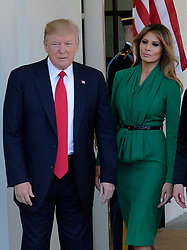US President Donald Trump and the First Lady Melania Trump welcome King Abdullah II and Queen Rania of Jordan at the West Wing of the White House in Washington, DC, April 5, 2017.Photo by Olivier Douliery/ Abaca