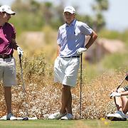 American Junior Golf Association players Oliver Schniederjans.(no hat), Patrick Cantlay and Jordan Spieth (light blue shirt) at the Thunderbird International Junior tournament.