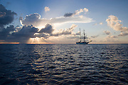 Yacht at sunset<br />
