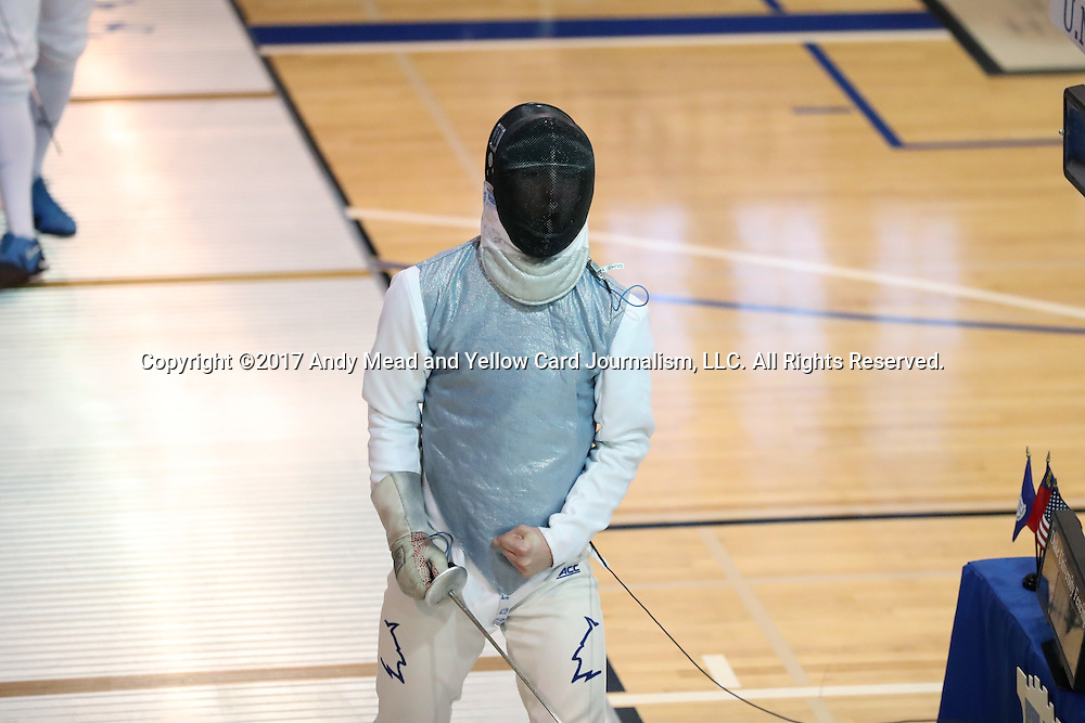 11 February 2017: Duke's Will Feldman reacts during Foil. The Duke University Blue Devils hosted the University of North Carolina Tar Heels at Card Gym in Durham, North Carolina in a 2017 College Men's Fencing match. Duke won the dual match 19-8 overall, 6-3 Foil, 6-3 Epee, and 7-2 Saber.