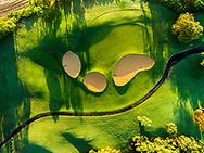 Aerial photograph of the 14th hole of the Wailua Golf Course, Kauai, Hawaii