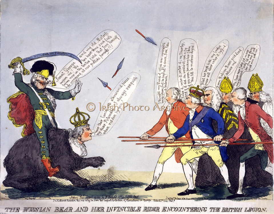 The Russian Bear and her Invincible Rider Encountering the British Legion', 1791. Potemkin in hussar's uniform riding Catherine the Great approach George III and his ministers carrying spears. Britain Russia International Relations Trade