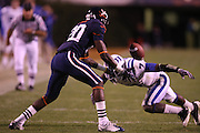Duke cornerback Leon Wright (7) defends Virginia wide receiver Tim Smith (20) who missed the catch during an ACC football game Saturday in Charlottesville, VA. Duke won 28-17. Photo/Andrew Shurtleff