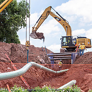 Bachmanville, PA - June 20, 2017: Pipes at a construction site to be used in a new energy pipeline in rural Pennsylvania.