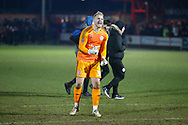 Accrington Stanley goalkeeper Connor Ripley (30) celebrates at full time during the The FA Cup 3rd round match between Accrington Stanley and Ipswich Town at the Fraser Eagle Stadium, Accrington, England on 5 January 2019.