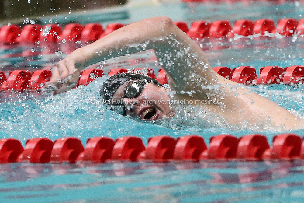 (2/17/19, BOSTON, MA) Watertown-Arlington's Christopher Kerrigan competes in the 200-yard freestyle during the Division 1 state boys swim meet at Boston University on Sunday. [Daily News and Wicked Local Photo/Dan Holmes]