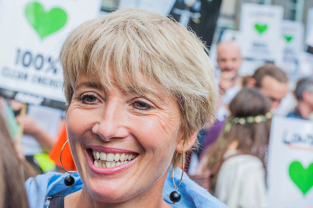 "People's Climate march, London – As part of an international day of protest - led by Emma Thompson (pictured)and Vivienne Westwood - people march to demand: ""a world with an economy that works for people and the planet; a world safe from the ravages of climate change; and a world with good jobs, clean air, and healthy communities for everyone.  The march started in Temple Place and ended outside Parliament – Westminster, London, UK,  21st Sept  2014. Guy Bell, 07771 786236, guy@gbphotos.com"