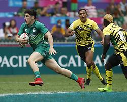 April 6, 2018 - Hong Kong, HONG KONG - Jimmy O'Brien (9) of Ireland in action against Jamaica during the 2018 Hong Kong Rugby Sevens at Hong Kong Stadium in Hong Kong. (Credit Image: © David McIntyre via ZUMA Wire)