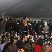 Plenary at the Main Marquee; Climate Justice:Copenhagen and beyond. Panel with Clayton Thomas Muller  from <br /> Indigenous Environmental Network in Canada, Joanna Cabello from Carbon Trade Warch, Friends of the Earth and Chris Kitchen from Climate Camp. A huge crowd filled the main marquee, listening and asking questions regarding COP15.