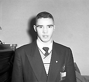Boxers Leave for Olympics in Melbourne.26/11/1956..Fred Tiedt (South City Dublin) Welter-Weight Boxer ..Frederick 'Fred' Tiedt (16/10/1935 – 15/06/1999) was born in Dublin, Ireland.  He was an amateur and professional boxer..Tiedt won a silver medal for Ireland at the 1956 Summer Olympics in Melbourne, Australia in the welterweight division. Tiedt beat opponents from Poland, the United States, and Australia before losing a split decision to Nicolae Linca of Romania. The following year Tiedt won a bronze medal at the European Amateur Boxing Championships in Prague....He turned professional in 1959 but his professional career was not as successful as his amateur career with a points victory over Al Sharpe to gain the Irish Welterweight Title the only highlight. Tiedt finished with a record of 12 wins, 7 defeats and 2 ties.