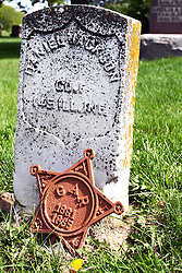 20 September 2012:   Moraine View State Park area.  Frankeberger Cemetery, Dawson IL.  The stone of Daniel Jackson, Co. 1, 145th Illinois Infantry has a star affixed representing the Grand Army of the Republic.  the GAR was a fraternal order with members being from different units of the armed forces of that era.