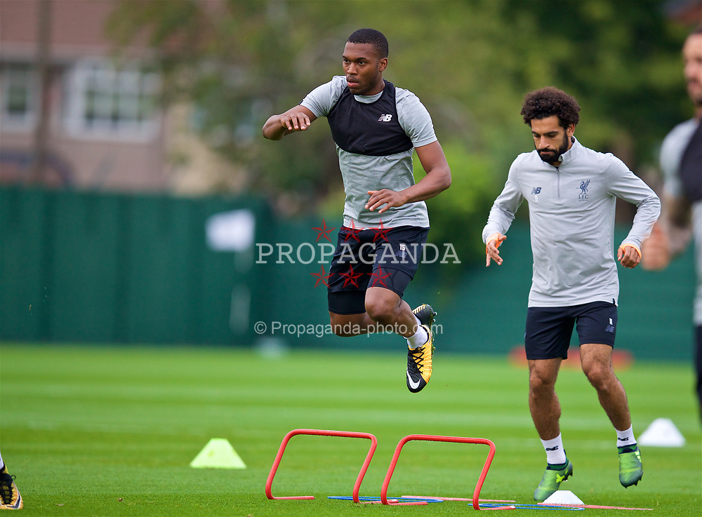 LIVERPOOL, ENGLAND - Tuesday, August 22, 2017: Liverpool's Daniel Sturridge during a training session at Melwood Training Ground ahead of the UEFA Champions League Play-Off 2nd Leg match against TSG 1899 Hoffenheim. (Pic by David Rawcliffe/Propaganda)