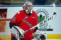 KELOWNA, BC - DECEMBER 30: Tyler Brennan #30 of the Prince George Cougars warms up in net against the Kelowna Rockets at Prospera Place on December 30, 2019 in Kelowna, Canada. (Photo by Marissa Baecker/Shoot the Breeze)
