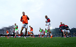 General view of Charlton Athletic's players warming up before the game