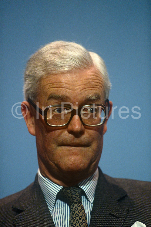 Foreign Secretary and Conservative MP, Douglas Hurd MP at the Conservative party conference on 11th October 1990 in Blackpool, England. Douglas Richard Hurd, Baron Hurd of Westwell, CH, CBE, PC b1930 is a British Conservative politician who served in the governments of Margaret Thatcher and John Major from 1979 to 1995.